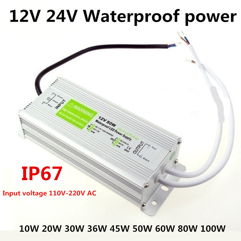 Led Driver Transformer Power Supply Adapter AC110-260V to DC12V/24V 10W- 100W Waterproof Electronic outdoor IP67 Led Strip Lamp led driver transformer waterproof switching power supply adapter ac170 260v to dc48v 200w waterproof outdoor ip67 led strip