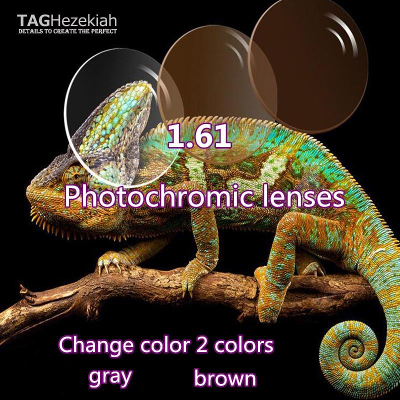 new 1 61 aspheric photochromism prescription lenses high quality custom reading glasses lenses gray brown