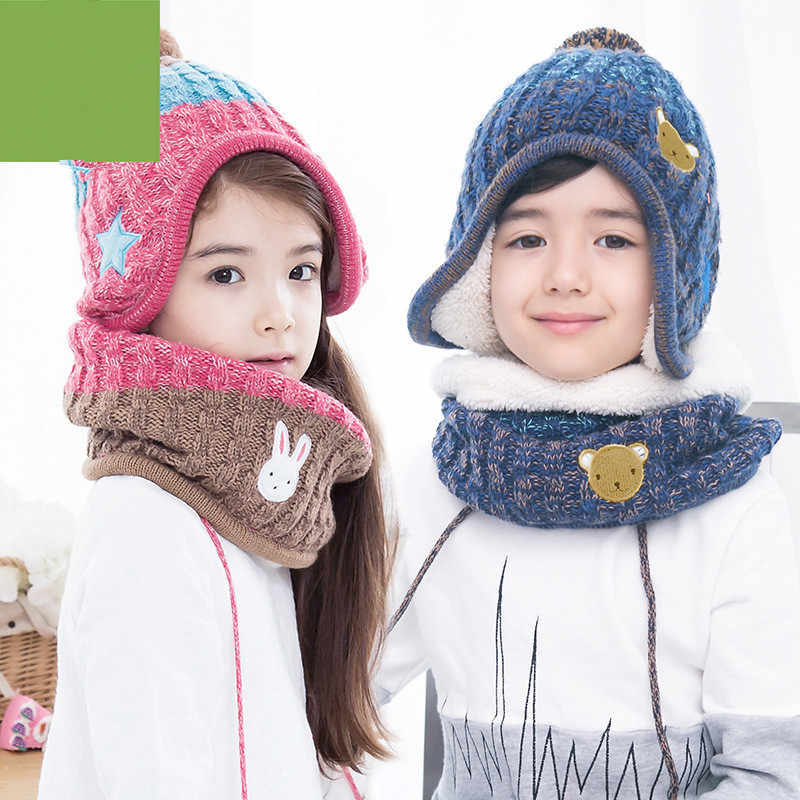 a48f33b7f65 ... Children hats scarf gloves three - piece warm autumn winter boys girls  baby caps collars sets ...