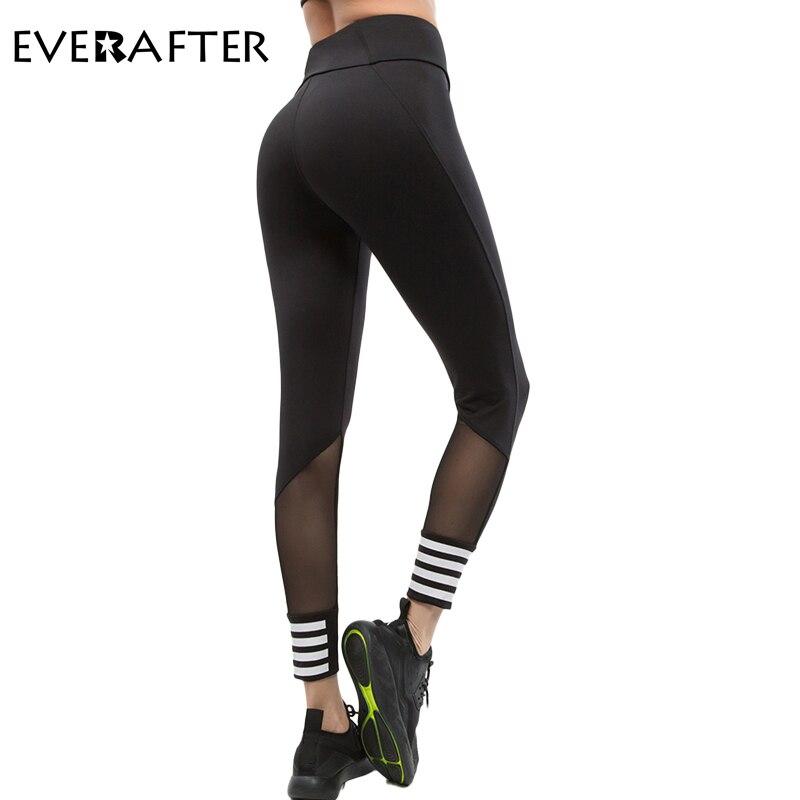 EVERAFTER Fitness elastic leggings women mesh Striped workout slim legging sportswear bodybuilding push up leggings for women
