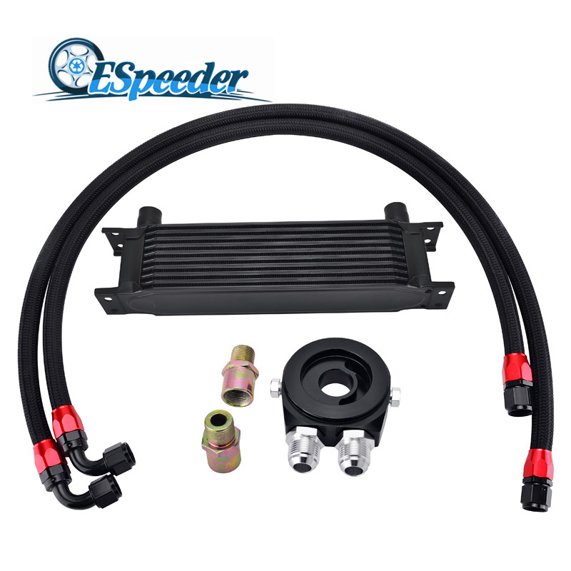 ESPEEDER 10 Row AN10 Universal Engine Transmission Oil Cooler+Oil Adapter Filter Cooler Plate Kit+Stainless Steel Oil Hose Line universal 28 row jdm engine oil cooler kit sandwich plate fit for ls1 ls2 ls3