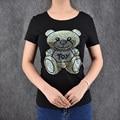 Lovely Bear Print Shining Crystal female T-shirt Casual Tops Tees Slim ropa mujer Short Sleeve Camiseta Good Quality Tees