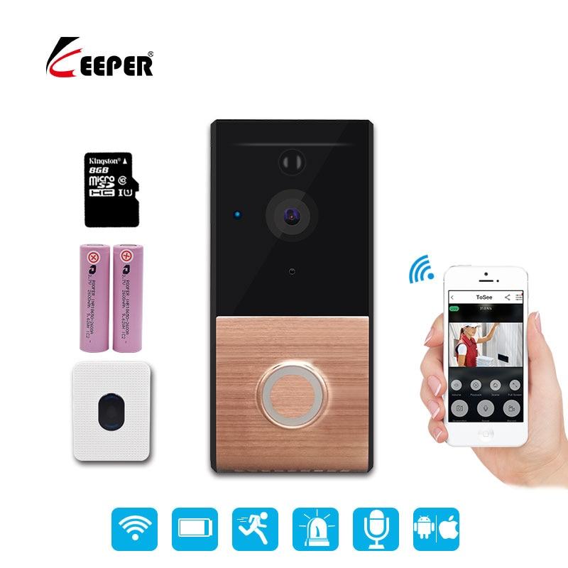 все цены на Keeper Wireless Video Door Phone HD PIR WIFI Doorbell Intercom 720P IP Camera Battery Power Audio SD Card Slot Outdoor Security онлайн