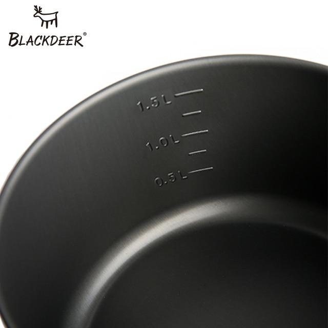 BLACKDEER Outdoor Camping Tableware Set Backpacking Picnic 2 Pot 1 Frypan 1 Kettle Alumina Durable Cookware  Folding Cooking Set 6