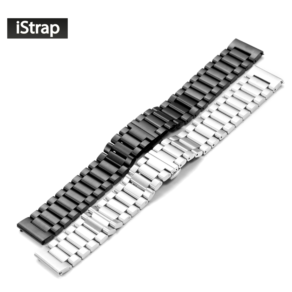 iStrap 22mm Stainless Steel Watch Band Metal Watchband for Moto 360 2 2nd Gen Man/Gear s3 Frontier Classic/ Pebble Time Steel mz short universal aluminum alloy motorcycle handlebar ends caps plugs golden pair
