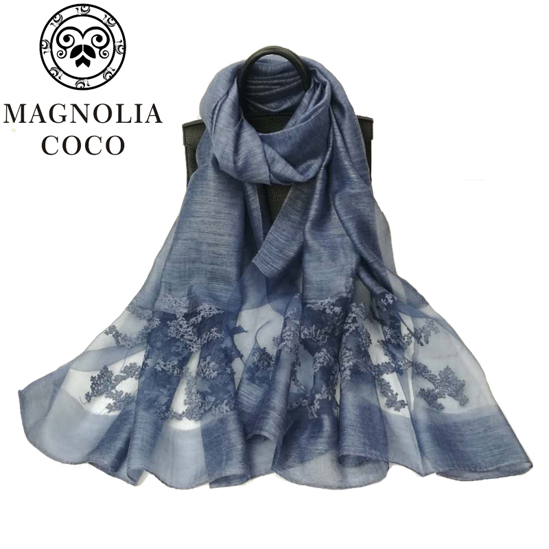 MAGNOLIA 2017 Luxurious Brand New design autumn ladies lace silk scarves women's long towels bandages flowers scarves shawls