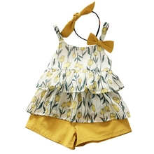 Girls Clothing Sets Summer Kids Clothes Floral Tulip Chiffon Spaghetti Top+Button Shorts Two-Piece Set + Headband Yellow 130cm shein apricot appliques button top and shorts elegant girls clothing two piece set 2019 spring fashion vintage children clothes