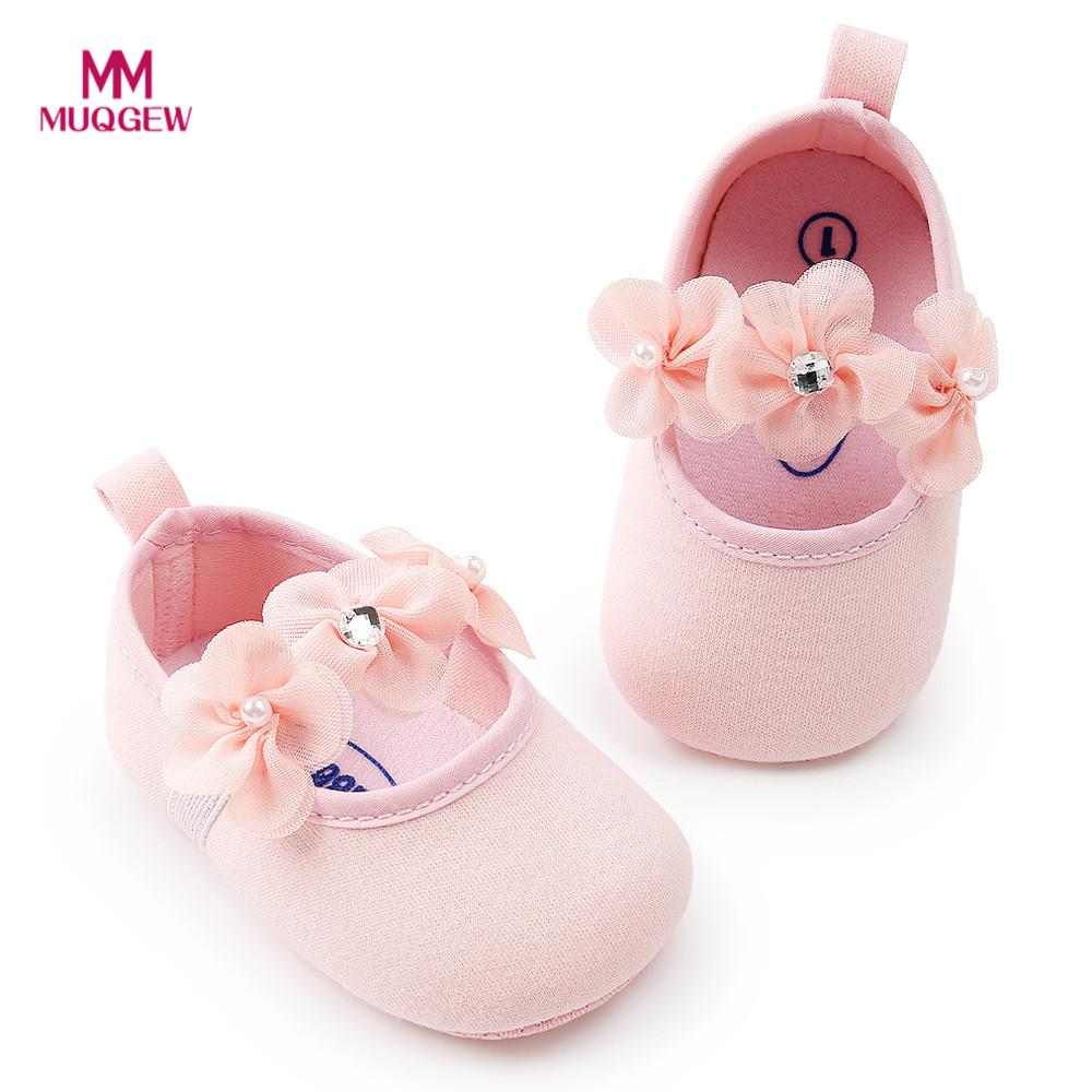 Newborn Infant baby Girl Flower Princess Cotton Fabric Shoes Soft Sole Anti-slip Sneakers Chaussures pour tout-petits Sapatos