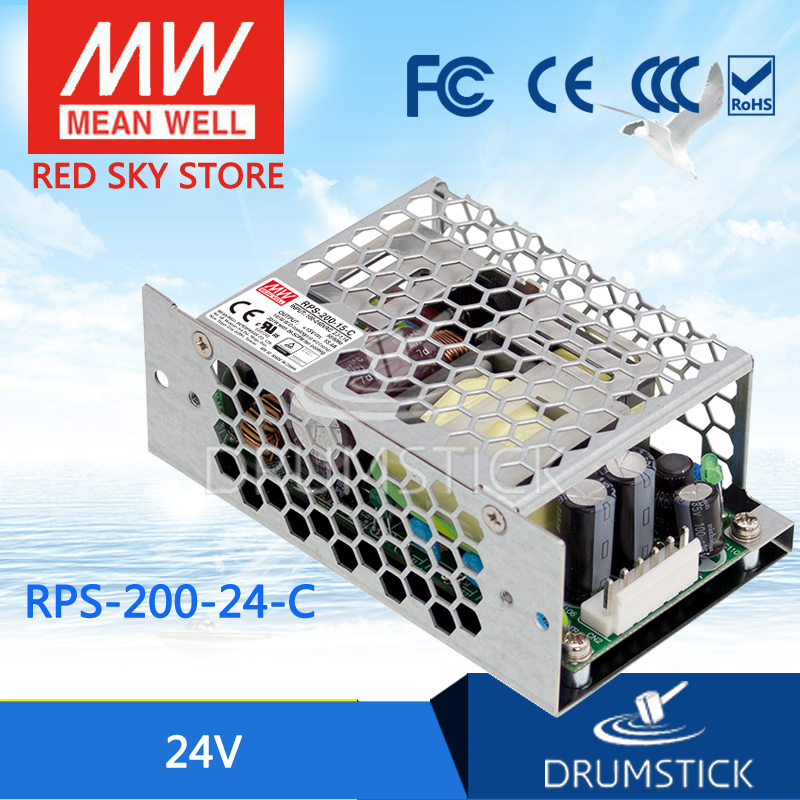 Hot sale MEAN WELL original RPS-200-24-C 24V 8.4A meanwell RPS-200 24V 201.6W Single Output Green Medical Type