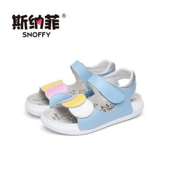 Snoffy Childrens Leather Sandals Open Toe Summer Girls Shoes Flat Heel Flower Baby Toddler Girls Beach Sandals TX199