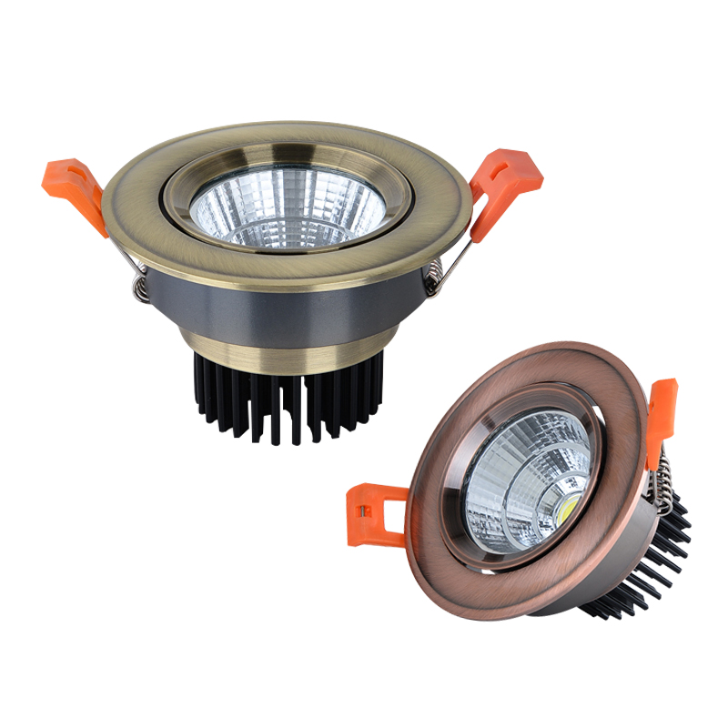Dimmable COB Downlight 3W 5W 7W 9W 12W 15W LED Bronze Copper Ceiling Lamp Recessed Spotlight Lamp Indoor Light AC110V 220V