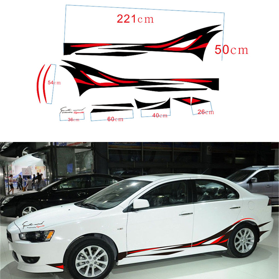1 Pair Flame Car Styling Vinyl Body Car Sticker Car SUV Body Sticker Side Hood Decal Free Shipping normal size funny car sticker waterproof peeking monster voyeur whole body car styling sticker for all cars free shipping