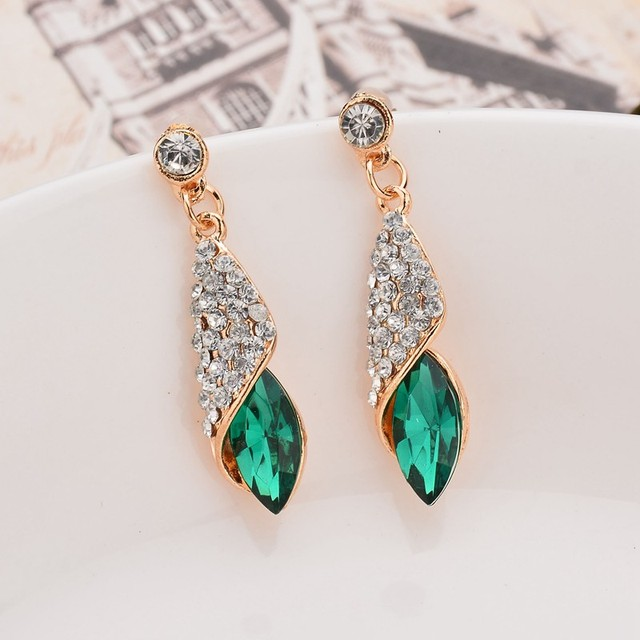 Fashion Brand Alloy Gold Colors Statement Austria Blue Crystal Long Earrings Rhinestone Water Drop Elegant Earring Jewelry 4