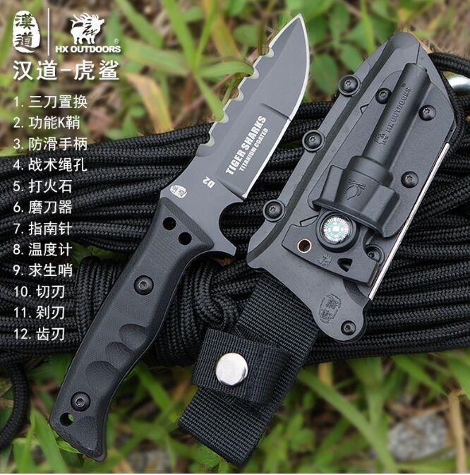 HX OUTDOORSTiger D2 steel font b tactical b font survival font b knife b font saber