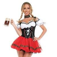 UTMEON Women's Red White Super Deluxe Beer Girl Costume Beer Wench Costume German Bavarian Beer Girl Oktoberfest Costume