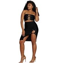 Sexy Strapless Black Dress Women Sleeveless Zipper Lace UP Hollow Out Split  Dresses 2 Piece Set Nightclub Dress sexy stand collar hollow out lace up zipper velvet dress for women