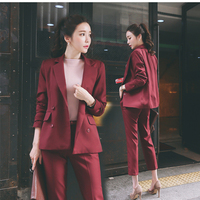 Wine Work Pants Suits 2 Piece Sets Office Lady Suits Women Outfits Spring