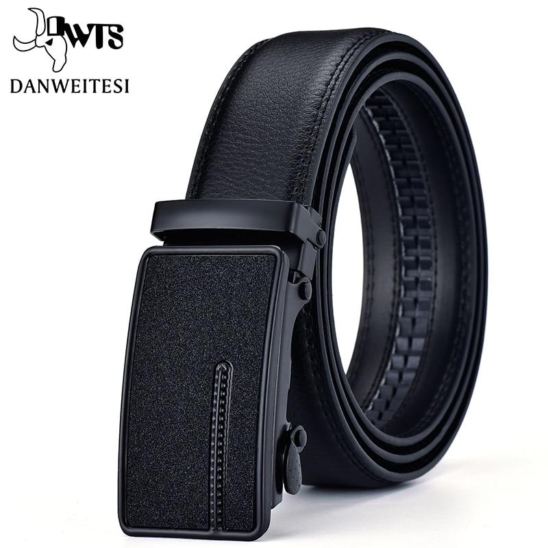 [DWTS]New Arrival Cow Genuine Leather Men's Belt Cowhide Strap For Male Automatic Buckle Belts For Men Black Buckle Belts