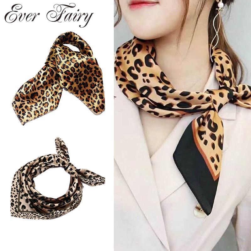 Fashion Silk Square Head Scarf For Women  Floral Leopard Print Hair Band Neck Scarves Wrap Handkerchief Bandana Accessories 50cm