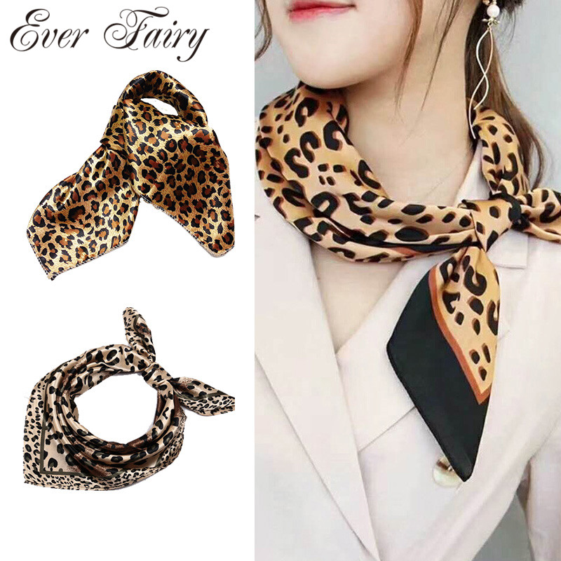 Fashion Silk Square Head   Scarf   For Women Floral Leopard Print Hair Band Neck   Scarves     Wrap   Handkerchief Bandana Accessories 50cm