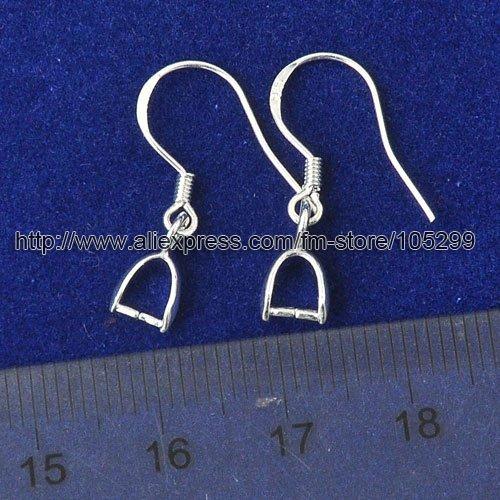 100Pcs Sterling 925 Silver Earring Findings Hooks Jewelry 15mm