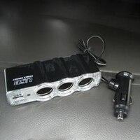 dc 12v 12V-24V לרכב 3 Way רכב מצית סיגריות Socket ספליטר מטען מתאם מתח DC + USB 3 בנמל Plug (5)