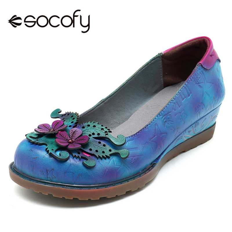 Socofy Genuine Leather Flat Shoes Women Casual Vintage Handmade Flower Low Heel Slip-on Loafers Women Shoes Plus Size Zapatos