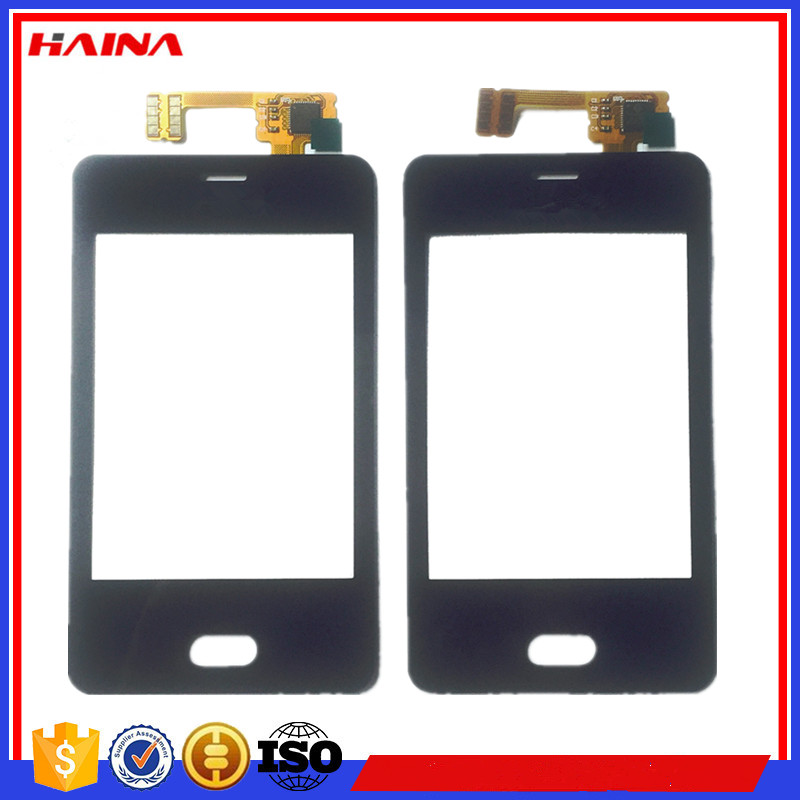 black color touchscreen For Nokia Asha501 Asha 501 N501 touch screen digitizer front glass lens sensor With free shipping