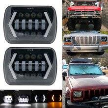 """5 """"X 7"""" 6X7นิ้วไฟLedสีดำรูปสี่เหลี่ยมผืนผ้าสำหรับรถจี๊ปWrangler XJ MJรถบรรทุก4X4ลูกศรDRLปิดแผนที่5X7ไฟหน้า"""