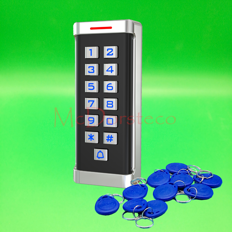 12V 24V Waterproof 125khz Proximity Card Access Control EM rfid Access Control System Metal Case & keypad with blue backlight 5pcs lot free shipping outdoor 125khz em id weigand 26 proximity access control rfid card reader with two led lights