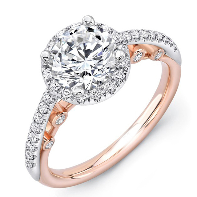Romantic EDI Moissanite 1CT Round Cut Lab Grown Diamond 9k Two-tone GoldEngagement Ring For Women Fairy Tale Fine Jewelry Gifts