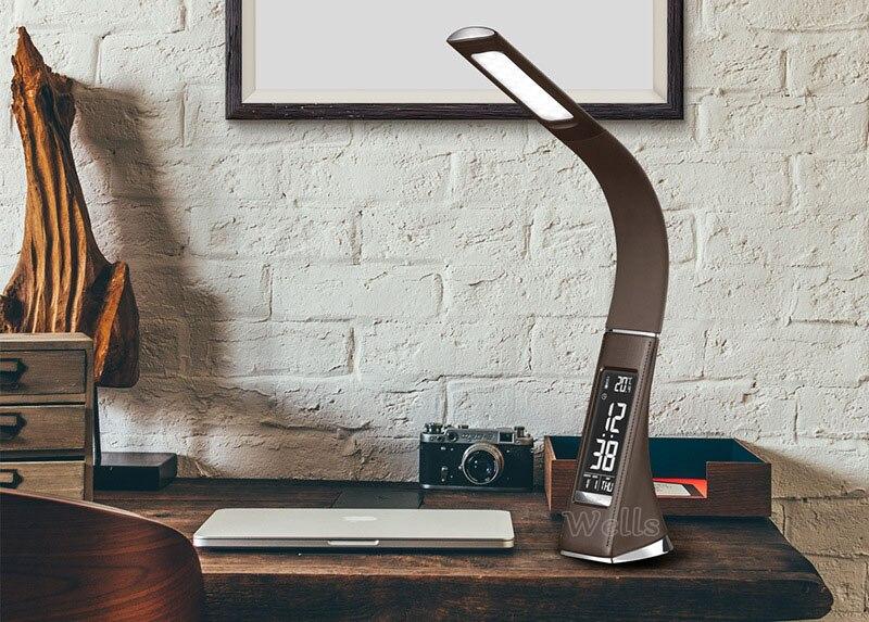 Lampe de Table de LED de contrôle tactile en cuir Flexible avec affichage de LED lampe de bureau créative avec réveil et calendrier