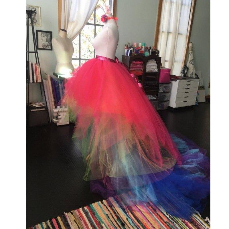 Boho Chic 2018 Mix Color High Low Tulle Skirts For Women To Photo-shoot Long Tutu Skirt Women Sash Fashion Tulle Skirt Saias