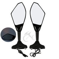 Motorcycle Rearview Side Mirrors LED Turn Signal For Kawasaki ZX6R ZX636 98 06 ZX10R 04 07