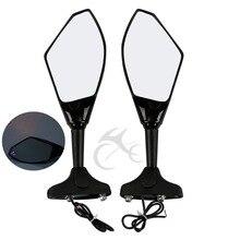 Motorcycle Black Universal Rear View Side Mirrors LED Light Turn Signal Dirt Bike  For Ducati Kawasaki Honda Suzuki Yamaha