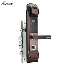 Jcsmarts Biometric Fingerprint Password Door Lock Hidden IC card Reader LCD Display English Audio Guide jcsmarts jcf3301 goden color electric key card door lock fingeprint biometric lock with double tongue mortise