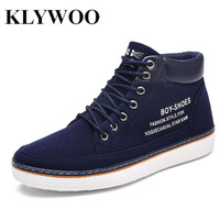 KLYWOO Big Size 39 46 Fashion Mens Casual Shoes High Top Men Leather Sneakers For Men