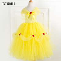 Beauty Beast Belle Princess Tutu Dress Kids Fancy Girl Party Dress Yellow Christmas Halloween Cosplay Dress