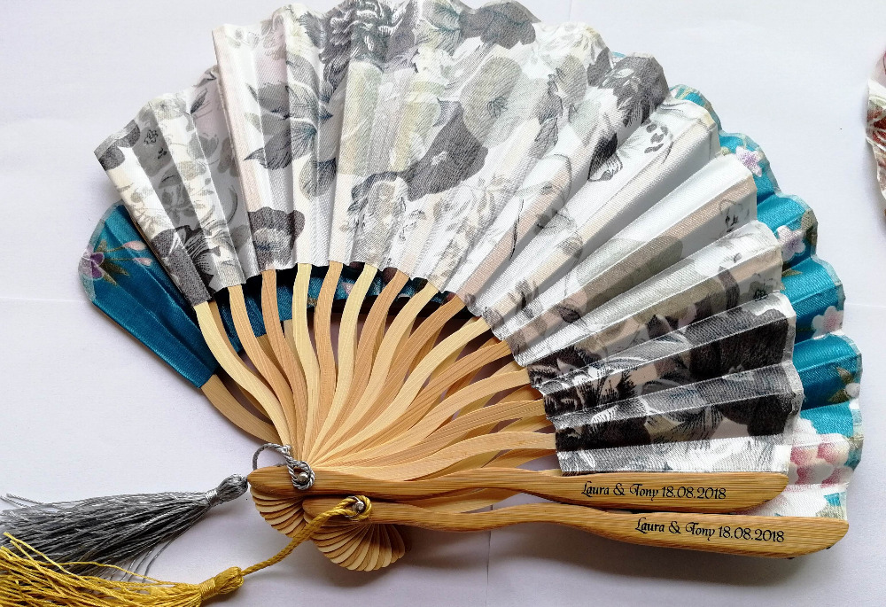 250 pcs Personalized Customized Bamboo 100 Polyester Flower Blossoms Wedding Chinese Japanese Folding Fan With tassel