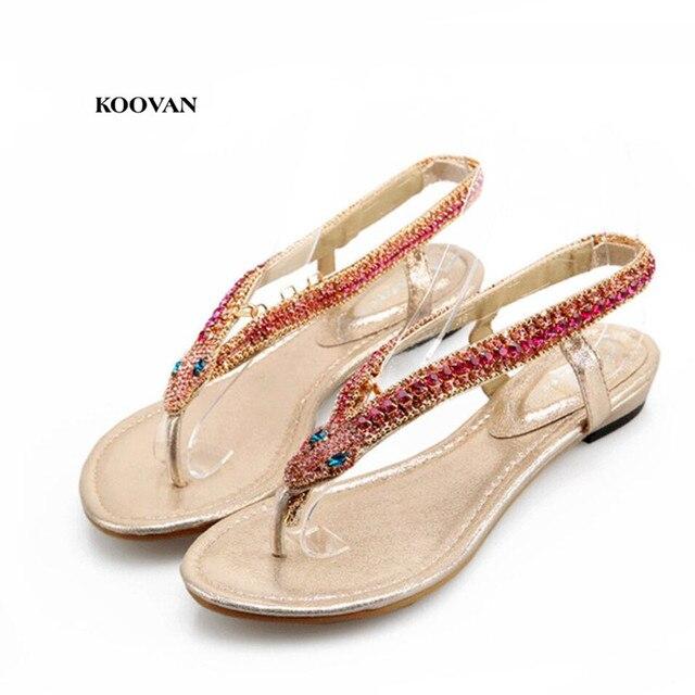 Koovan Women Sandals 2018 Summer New Women Shoes Fashion Golden Diamond  Snake Diamond Rhinestone Thong Flip Women Sandals a958a3b8caa7