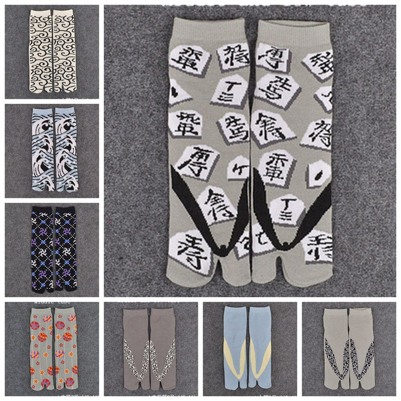 Womens Sandal Short Cotton   Socks   Ladies Multi-Color Print Samurai Split Toe   Socks   Kimono Flip Flop Carp XLZ9452