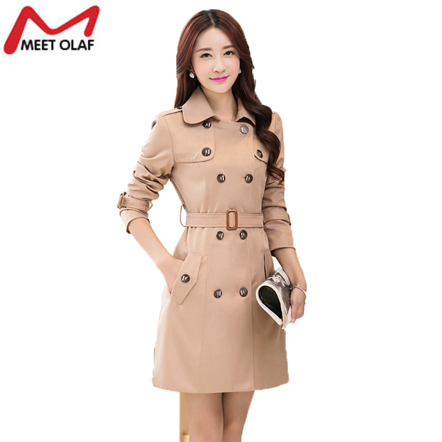 Ladies Slim Trench Coat Turn-Down Collar Windbreaker Double Breast Trenchcoat Plus Size Vintage Trench Coats YL545