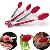 2Pcs Set Stainless Steel Silicone BBQ Tongs Kitchen Cooking Salad Sandwich Meat Food Clip Heat Resistant