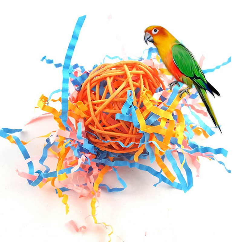Parrot Bird Rattan Ball Drawing Toy Random Color (ball, Paper) Parrot Toy Ball For Parakeet Cockatiel Chew Fun Cage Pet Bird Toy
