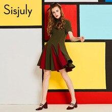 Sisjuly 60s vintage dress patchwork short sleeve a line turtleneck pleated zipper elegant 2018 new arrival female vintage dress