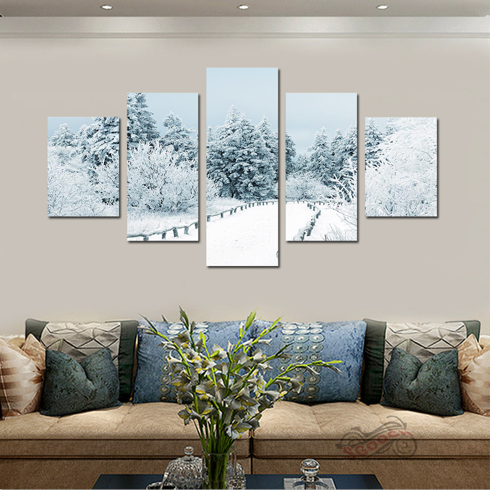 Unframed 5 panel HD Canvas Wall Art Giclee Painting Cedar Trees Landscape For Living Room Home Decor Unframed