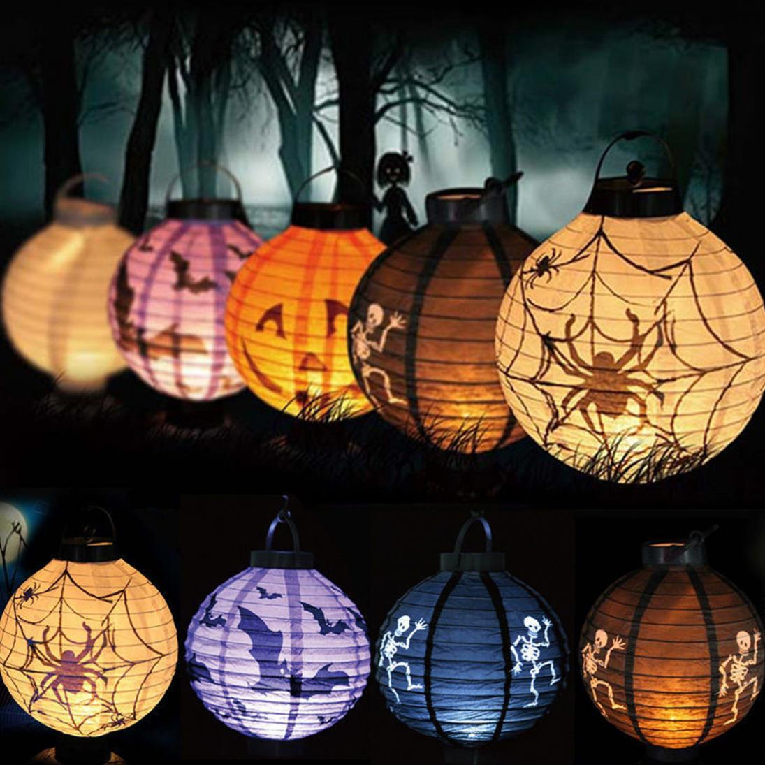 Cute LED Paper Pumpkin Bat Spider Skeleton Hanging Lantern Light Lamp Halloween Party De ...