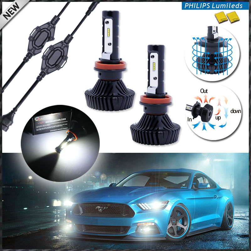 buy high power led headlight bulbs h11 h8 h9 6000k xenon white powered by. Black Bedroom Furniture Sets. Home Design Ideas