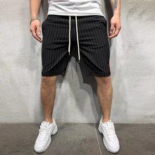 Pantalones Cortos informales para Hombre, pantalón corto con bolsillo de retales a rayas y cordón ajustable