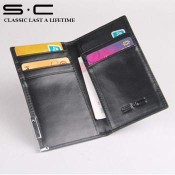 wholesale 100% genuine Cow leather wallet  new fashion designer 8 pcs credit Card Holder with nice metal logo Free Shipping